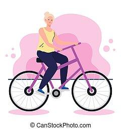 vélo, femme, mignon, vieux, activité, loisir