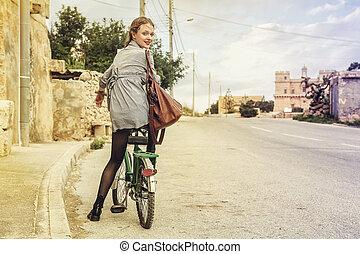 vélo, femme