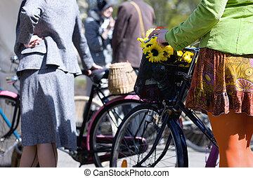vélo, femme, spring., lettonie, riga.