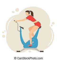 vélo, femme, stationnaire, exercisme