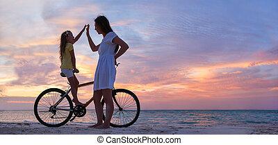 vélo, fille, mère