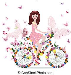 vélo, girl, fleur