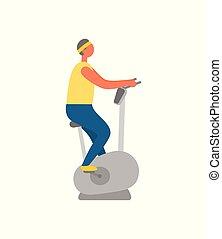 vélo gymnase, musculation, utilisation, stationnaire, homme