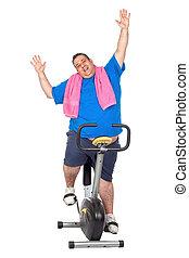 vélo, homme, graisse, statique
