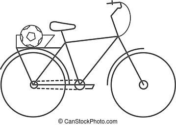 vélo, icon., plat, monochrome, vélo, icône, à, a, balle, dans tronc, pour, travel., vecteur, isolé, illustration.