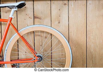 vélo, image, mur, haut, bois, garé, fin, partie
