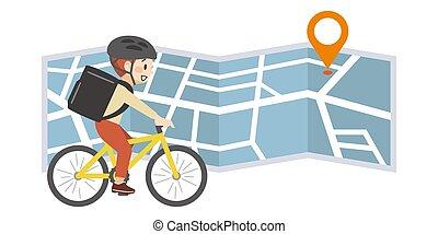 vélo, image, nourriture, porter, deliveryman, carte
