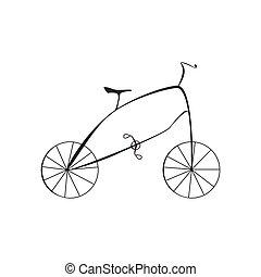 vélo, isolé, illustration, vecteur, arrière-plan noir, blanc