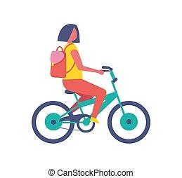 vélo, isolé, vecteur, équitation, girl, dessin animé, icône
