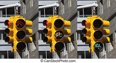 vélo, lumières, sur, les, carrefour, dans, new york