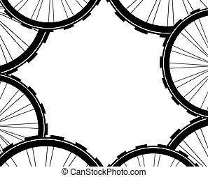vélo, modèle fond, pattern., vélo, spokes, pneu, roues, wheels.