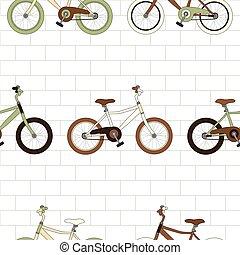 vélo, mur, vendange, seamless, fond, brique blanche