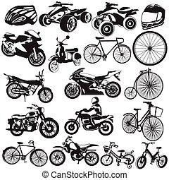 vélo, noir, motocyclette, icônes