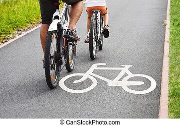 vélo, panneaux signalisations, et, vélo, cavaliers