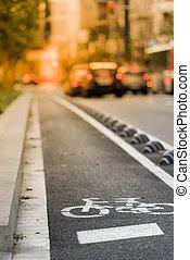 vélo, panneaux signalisations, rue