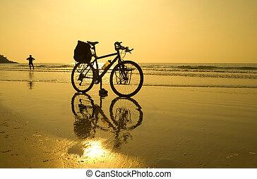 vélo, pause, plage