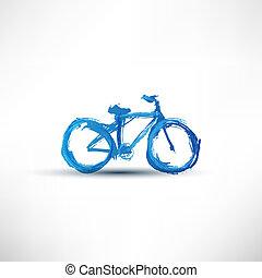 vélo, peint, à, a, brosse