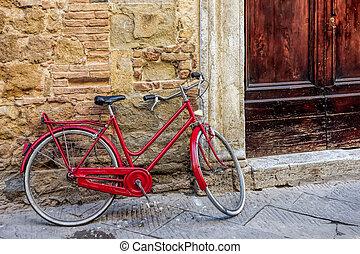 vélo, pienza, mur, contre, penchant, rouges
