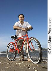 vélo, plage., homme, penchant