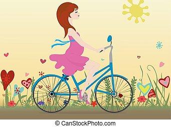 vélo, pregnant, floraison, champ jaune, fond, girl, sky., promenades