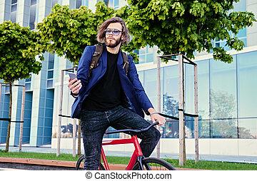 vélo, promenades, unique, téléphone., utilisation, vitesse, intelligent, homme