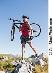 vélo, rocheux, cycliste, sien, crise, porter, terrain