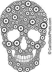 vélo, roue, crâne