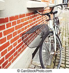 vélo, rouges, ville