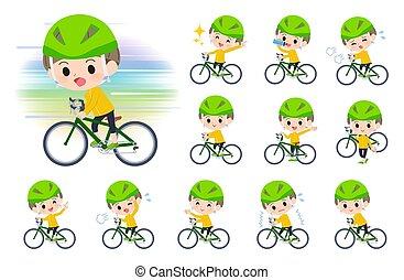 vélo, route, garçon, habillement, jaune