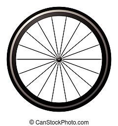 vélo, route, roue