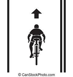 vélo, sentier, signe