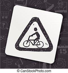 vélo, signe, griffonnage