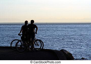vélo, silhouette, cavaliers