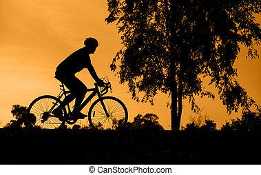 vélo, silhouette, coucher soleil