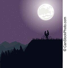 vélo, silhouette, couple, lune, romance, vélo, sous, équitation