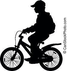 vélo, silhouette, enfant
