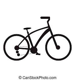 vélo, silhouette, isolé