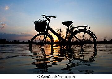 vélo, silhouette, tenir dans eau, à, sunset.