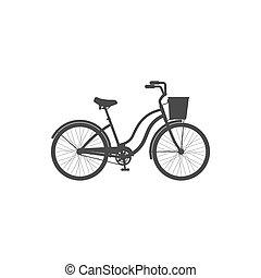 vélo, simple, blanc, icône, arrière-plan., femme, isolé, croiseur, panier