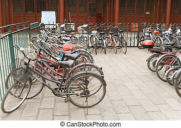 vélo, stationnement, vélos, porcelaine, beijing, lot, rang