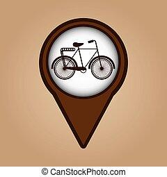 vélo, symbole, vendange, couleur, icône