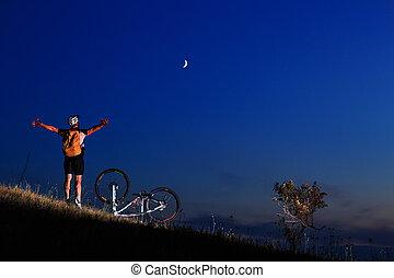 vélo tout terrain, cycliste, équitation, extérieur