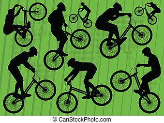 vélo tout terrain, vélo, cavaliers, vecteur