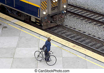vélo, train, /, banlieusard