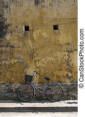 vélo, une, mur, contre, hoi, vietnam, penchant