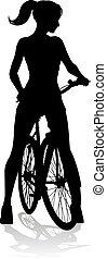 vélo, vélo, cycliste, femme, équitation, silhouette