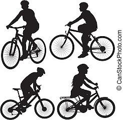 vélo, vélo, cycliste, -, icône