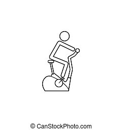 vélo, vélo, icône, ligne, stationnaire, exercice