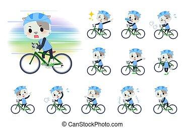 vélo, vache, route, garçon, animal