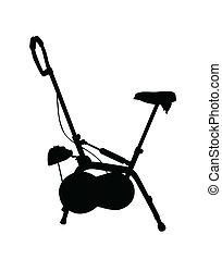 vélo, vecteur, silhouette, stationnaire